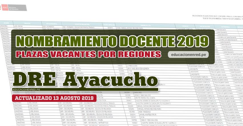 DRE Ayacucho: Plazas Vacantes para Nombramiento Docente 2019 (.PDF ACTUALIZADO MARTES 13 AGOSTO) www.dreayacucho.gob.pe