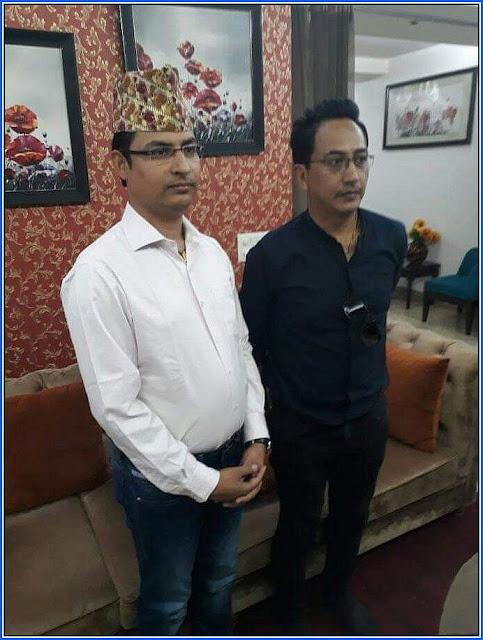 BJP Darjeeling candidate Raju Singh Bista with GNLF chief Mann Ghisingh