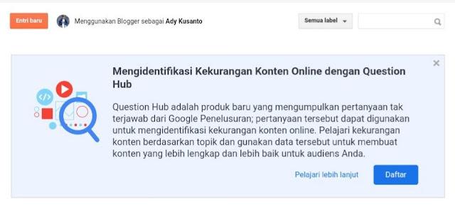 Notifikasi Question Hub di Blogger