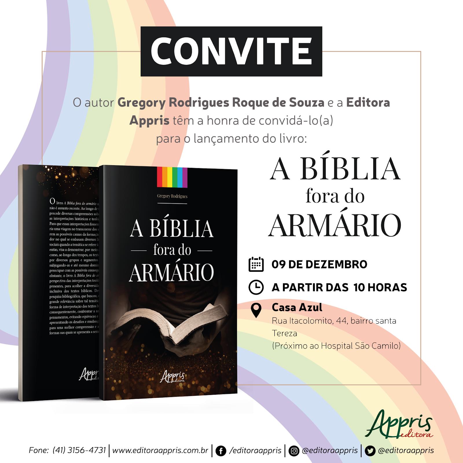 9df58c8685 Atenção  O lançamento do livro será realizado após o culto da Igreja da  Comunidade Metropolitana de BH.