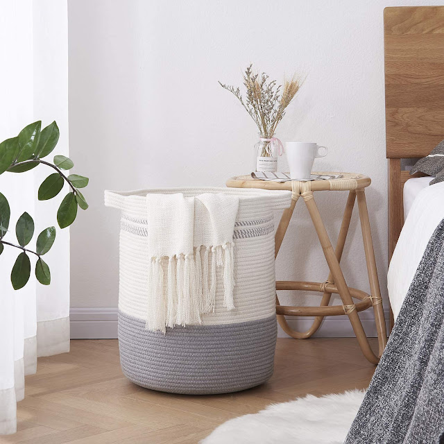 OIAHOMY Laundry Basket Cotton Woven Basket