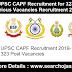 UPSC CAPF Recruitment for 323 Various Vacancies Recruitment 2019