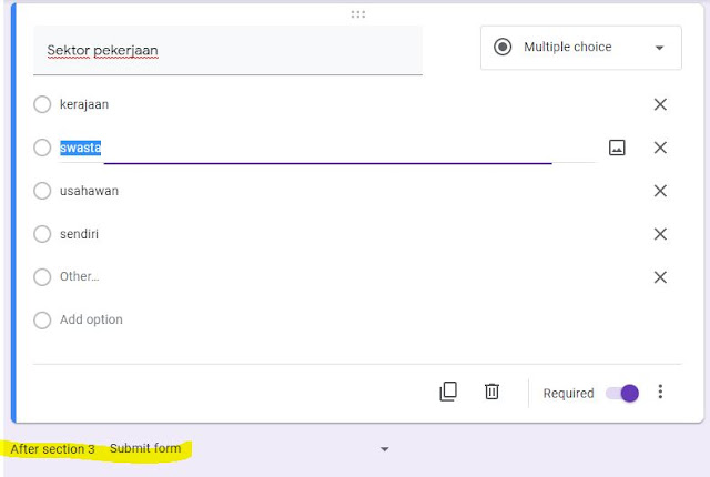 cara tambah seksyen dalam google forms
