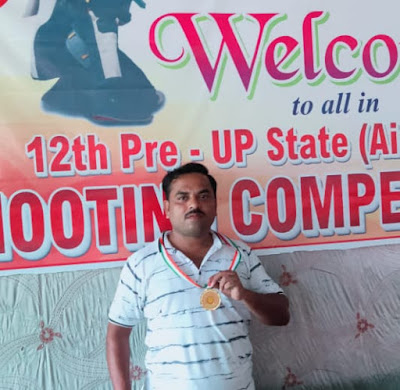 दिव्यांग अध्यापक अमरेश ने स्वर्ण जीत बढ़ाया जनपद का मान primary ka master win gold medal in shooting