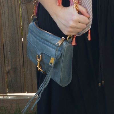 awayfromtheblue black maxi skirt with blue rebecca minkoff mini mac bag