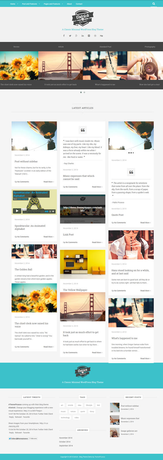 Ostrich A Classic Minimal WordPress Blog Theme