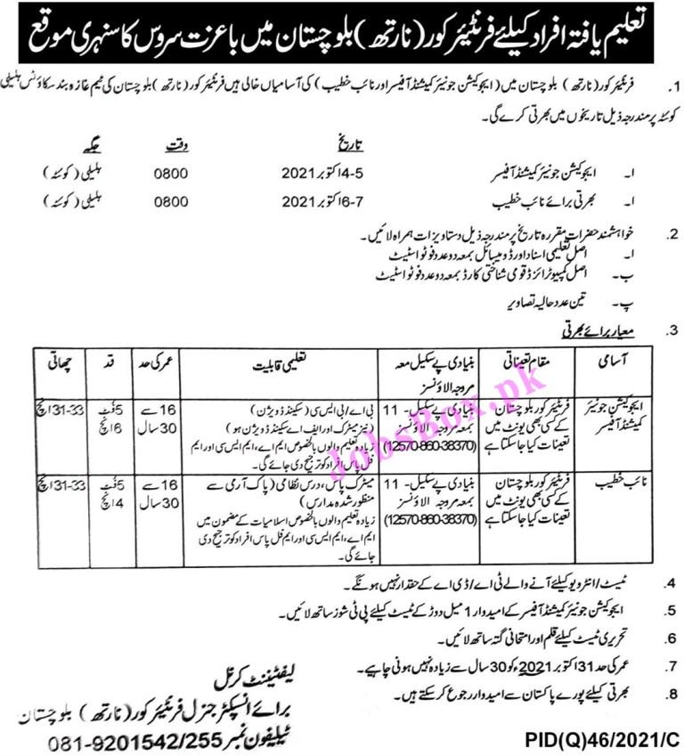 FC Frontier Corps North Balochistan Jobs 2021 in Pakistan