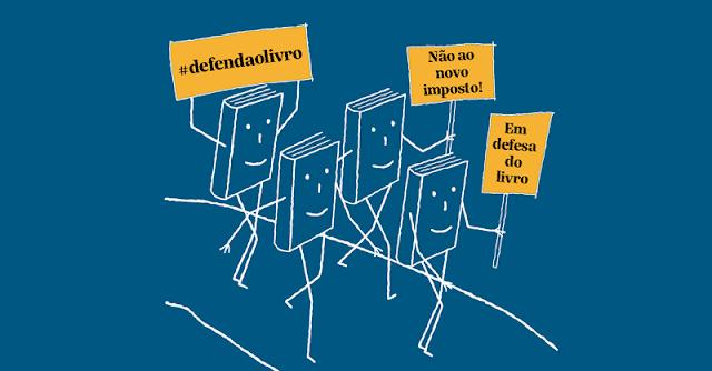 Defenda o livro (ilustração dos livros protestando contra a tributação proposta pela reforma tributária)