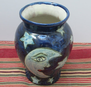 Moon and stars blue vase from mexico