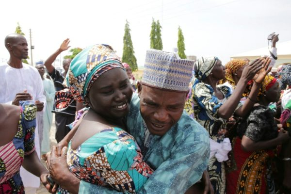 Huggings, tears of joy as Chibok girls reunite with parents