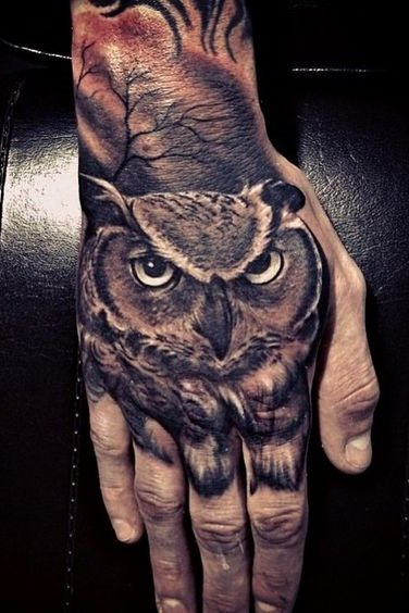 On Hand Owl Face Tattoo
