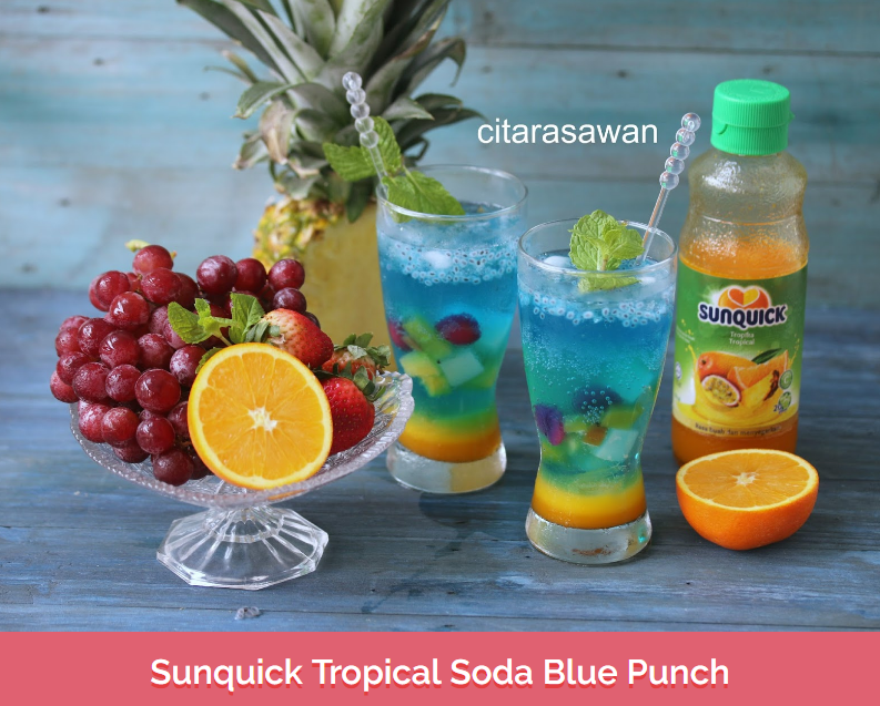 Resepi Air Sunquick Tropical Soda Blue Punch