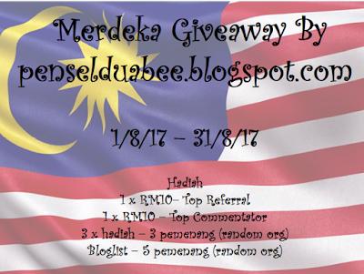 Merdeka Giveaway, Blogger, Penselduabee, Pemenang, Hadiah, Blog Miss Banu Story, Join,