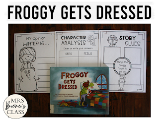 Froggy Gets Dressed book study winter literacy unit with Common Core aligned companion activities for K-1