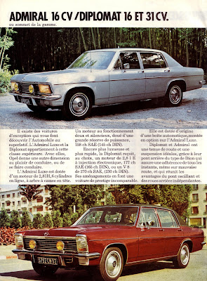 Sales brochure page for Opel Admiral B series