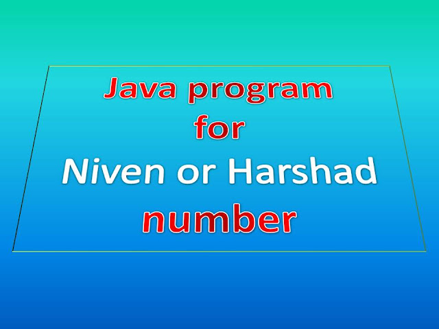Java program for Niven or Harshad number