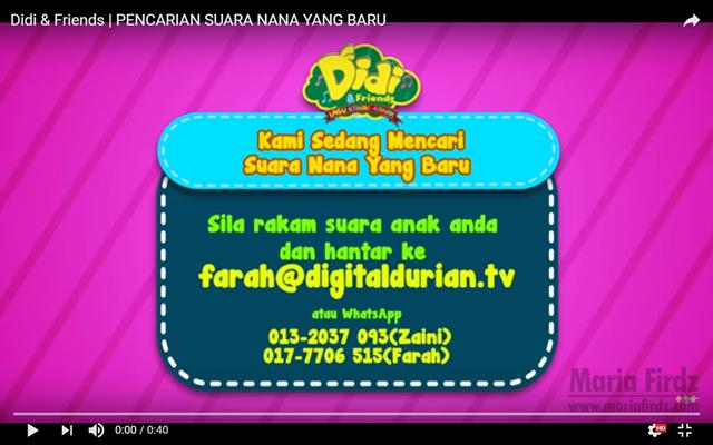 PENCARIAN SUARA BARU BAGI WATAK NANA DALAM DIDI AND FRIENDS!