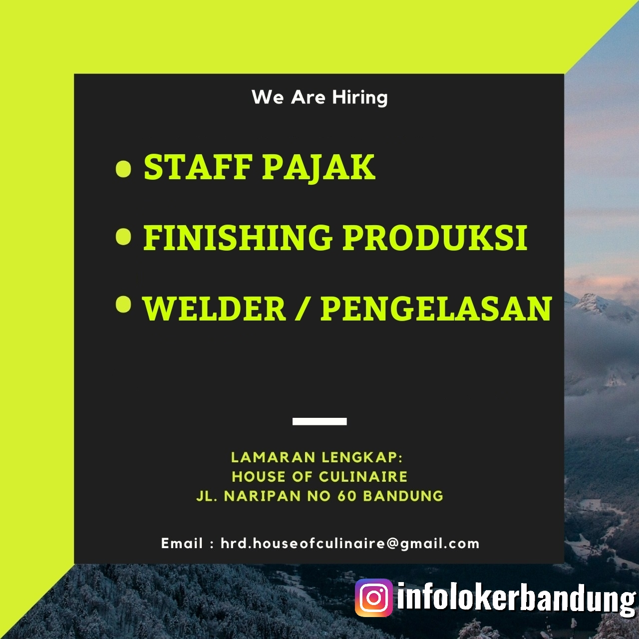 Lowongan Kerja House Of Culinaiere ( HOC ) Bandung Maret 2020
