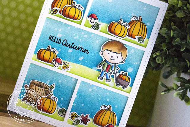 Sunny Studio Stamps: Comic Strip Everyday Dies Fall Kiddos Happy Harvest Fall Themed Card by Eloise Blue