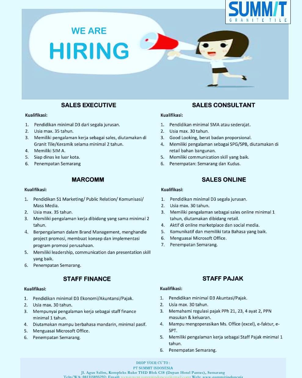 Summit Granit Tile Membuka Loker Semarang & Kudus Untuk Posisi Sales Executive, Marcomm, Staff Finance, Sales Consultant, Sales Online, & Staff Pajak