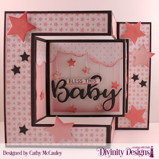 Divinity Designs Stamp/Die Duos: Bless This Baby, Paper Collection: Baby Girl, Custom Dies: Tri-Fold Card with Layers, Cloud Borders, Sparkling Stars, Sentiment Strips