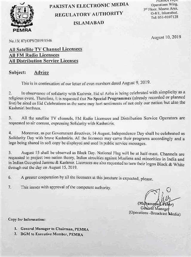 OBSERVANCE OF 15TH AUGUST, 2019 AS BLACK DAY