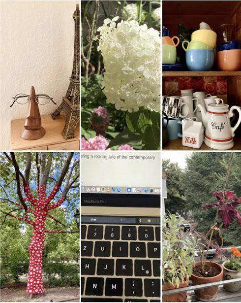 Baum mit Punktdekoration, Tastatur, Buntblatt, das Palme spielt, Schneeballhortensie, Brillensuchbrillenhalter etc.