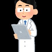 タブレットを使う人のイラスト(男性医師)