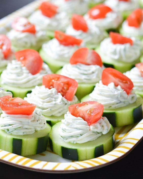 We needed a light appetizer for a potluck and wanted something fresh for spring. So we found these very simple cucumber bites which are a delicious healthier break from the typical indulgent hors d'oeuvres.
