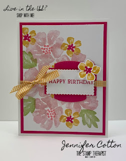 Happy Birthday card using Stampin' Up!'s Blossoms in Bloom set in Misty Moonlight.  We also used the Tasteful Textile embossing folder.  Click the picture to go to blog for video and supplies!  #StampinUp #StampTherapist