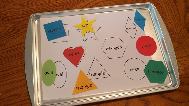 Magnetic shape matching game for baking sheet