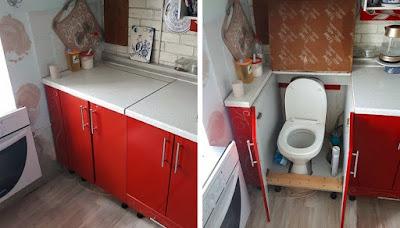 WC caché dans un meuble de cuisine