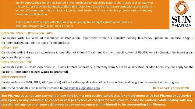 Sun Pharma | Hiring for Production/ETP/QC at Chennai | Send CV