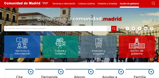 portada de a web de la comunidad de madrid