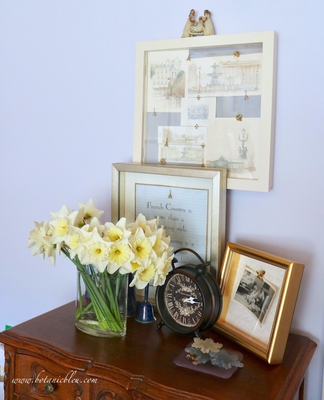 French Prints Shadowbox is elevated to the extraordinary by using a beautiful silk fabric as its background