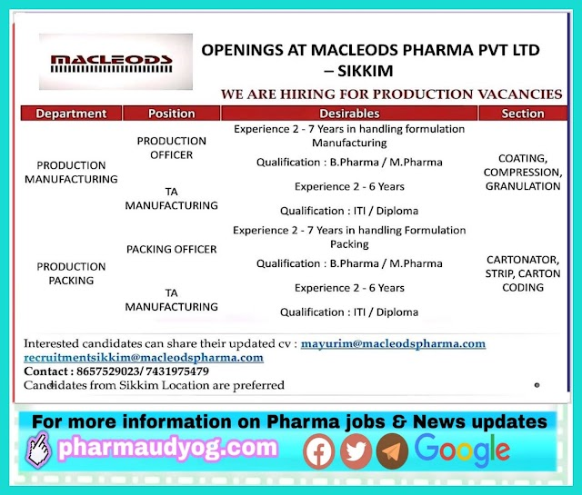 Macleods | Hiring for Production department at Sikkim | Send CV