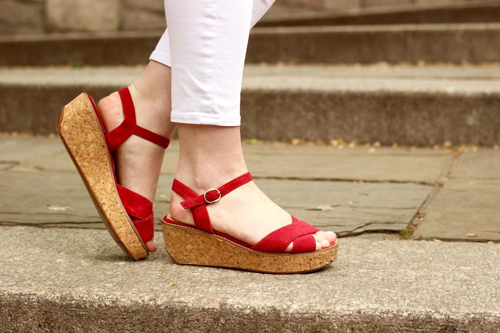red flatform sandals