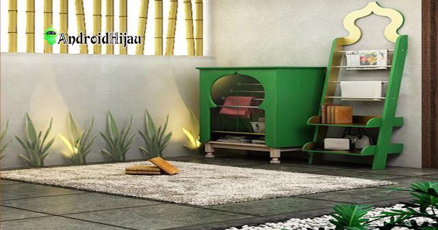nuansa tanaman hijau dapat diaplikasikan dalam ruangan mushola rumah