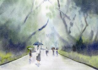 雨の公園 木々を描く
