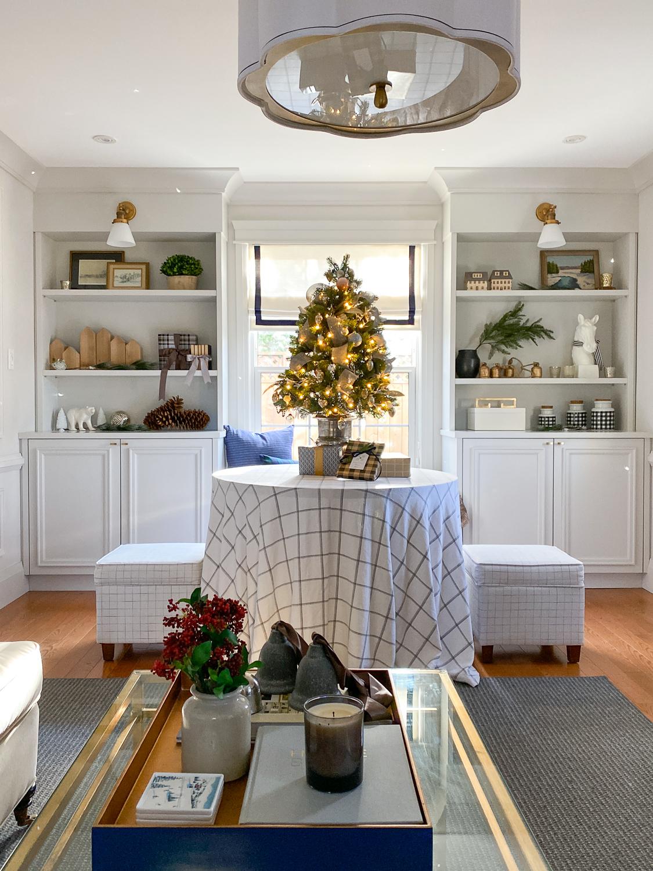 living room at christmas, christmas decor ideas, buffalo plaid chair, cozy living room