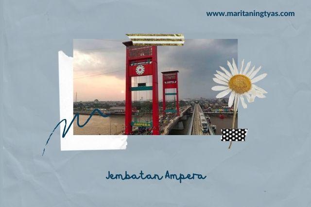 jembatan ampera palembang berwarna merah