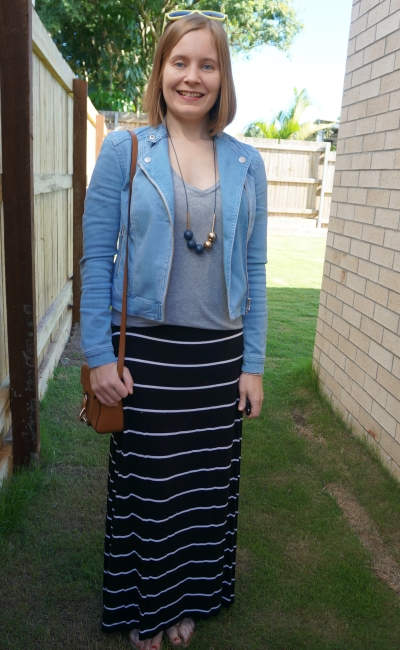 jeanswest denim biker jacket with grey v neck tee striped maxi skirt and camera bag | away from blue