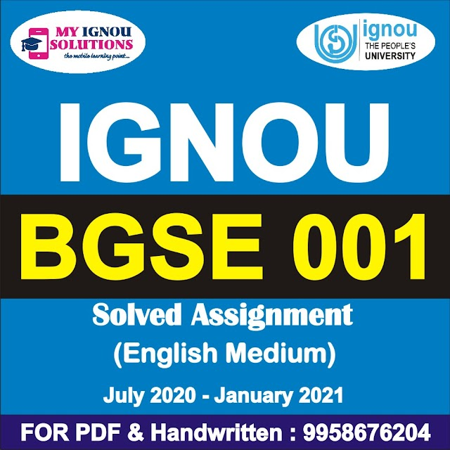 BGSE 001 Solved Assignment 2020-21