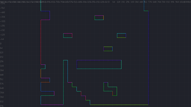 A screenshot showing individual surfaces, each annotated with a different color.