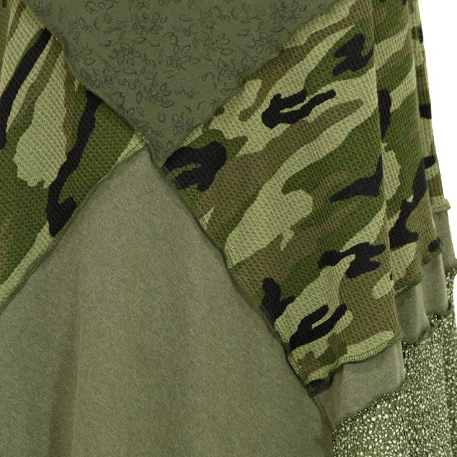 secret lentil camo olive green upcycled dress