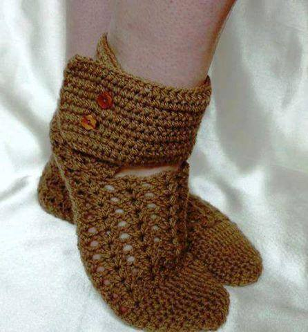 Patrón #1614: Botas a Crochet