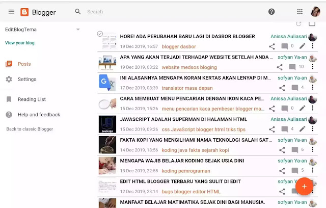 Dasbor blogger terbaru opsi list bukan grid