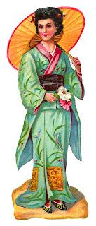 fashion kimono vintage image japanese clipart