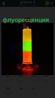 светящиеся флуоресценция вертикальном положении