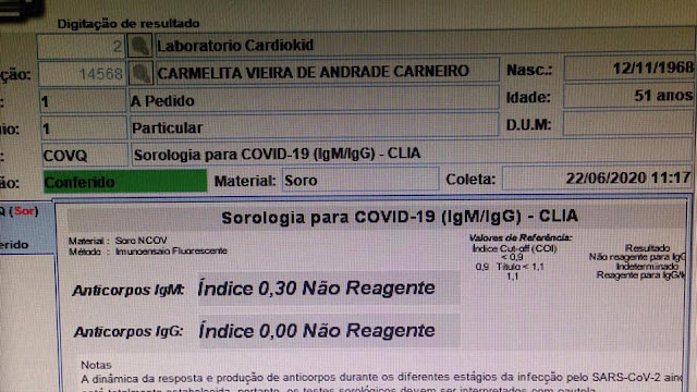 Em Riacho dos Cavalos mulher que havia testado positivo para COVID-19 realizar novos exames é resultado da negativo